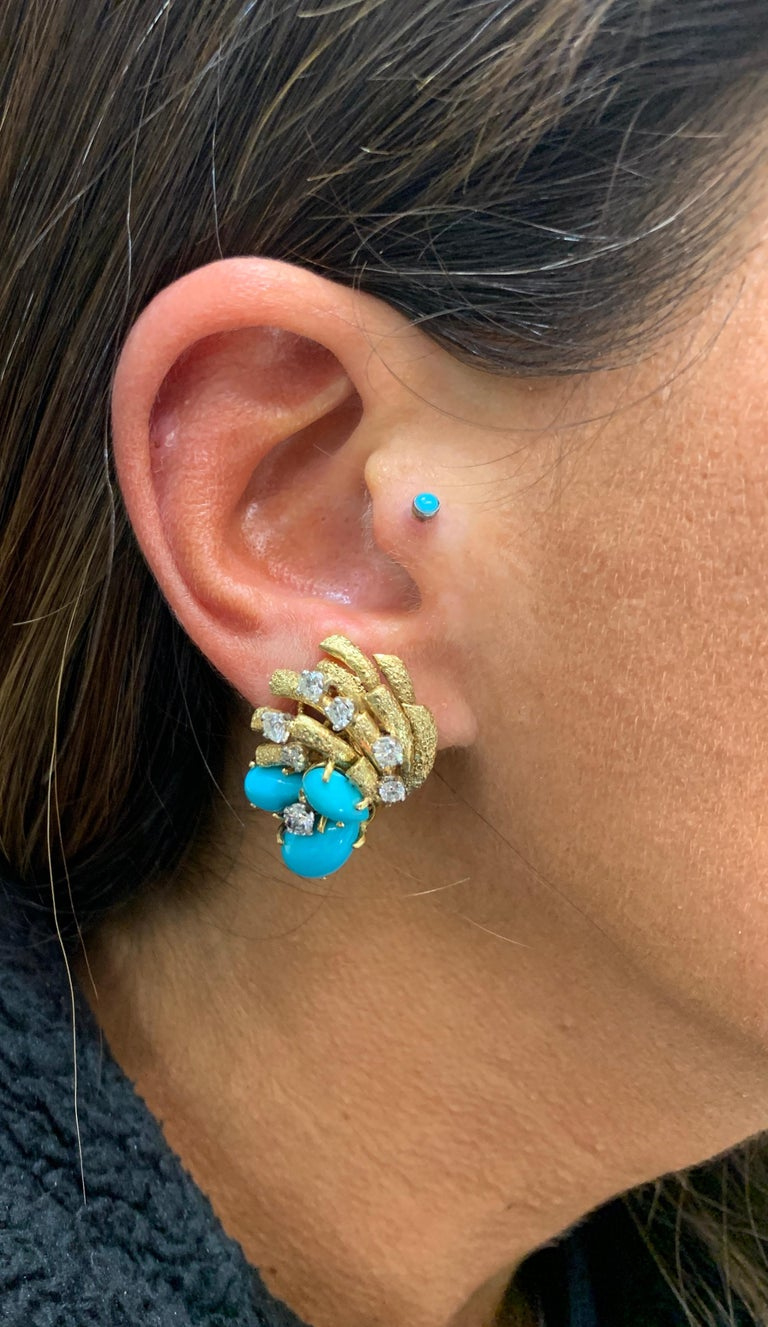 Cartier Turquoise and Diamond Earrings For Sale 1