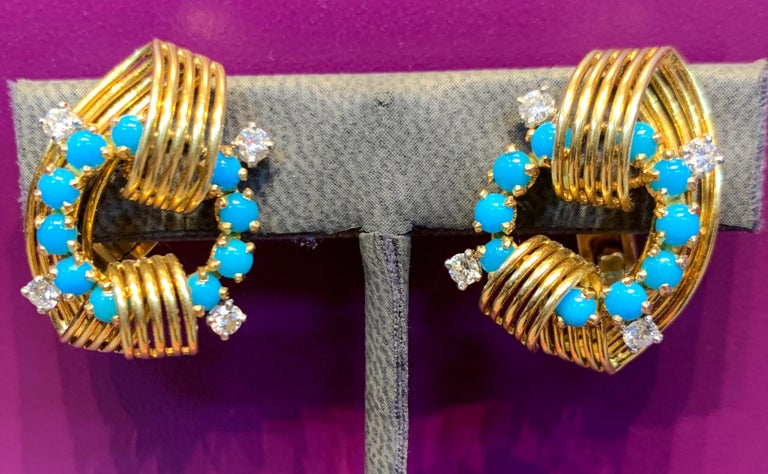 "Cartier Turquoise & Diamond Gold Earrings  18k Yellow Gold Measurements: 1"" long Back Type: clip on Signed Cartier Paris & numbered"