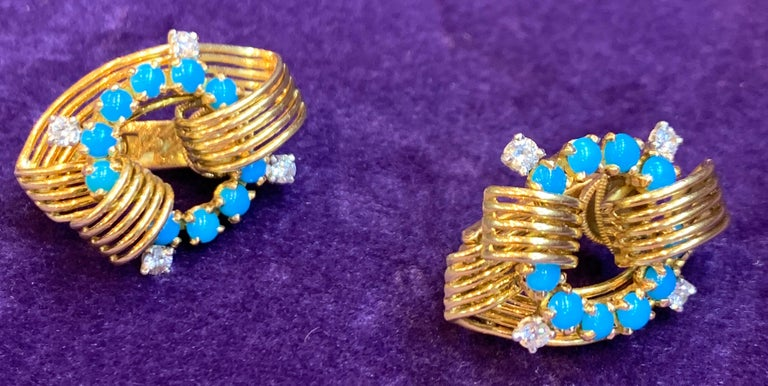 Round Cut Cartier Turquoise and Diamond Gold Earrings For Sale