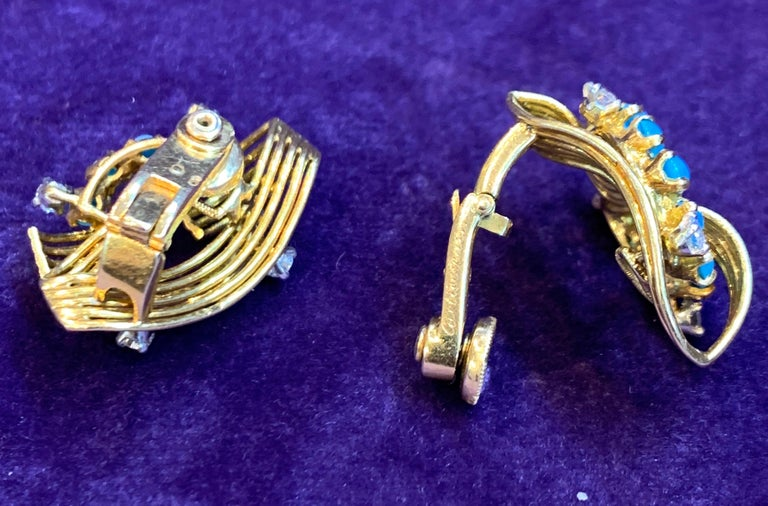 Cartier Turquoise and Diamond Gold Earrings In Excellent Condition For Sale In New York, NY