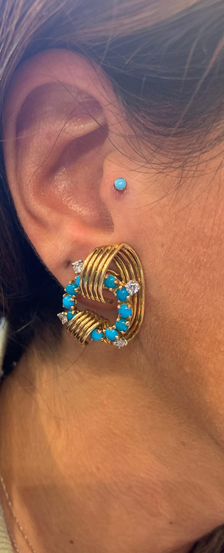 Women's Cartier Turquoise and Diamond Gold Earrings For Sale