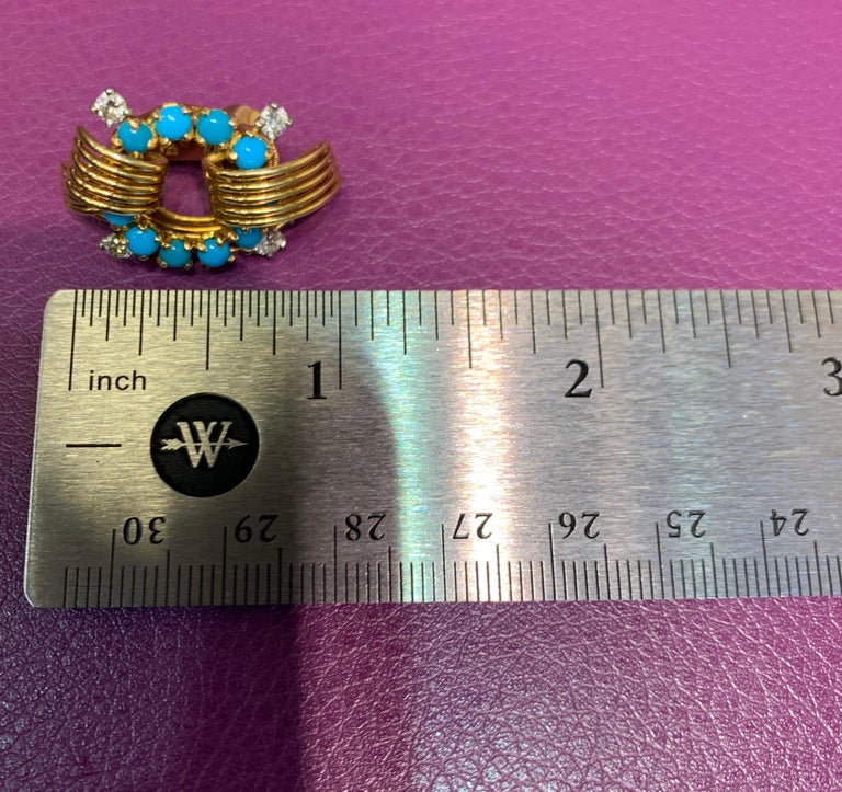 Cartier Turquoise and Diamond Gold Earrings For Sale 1