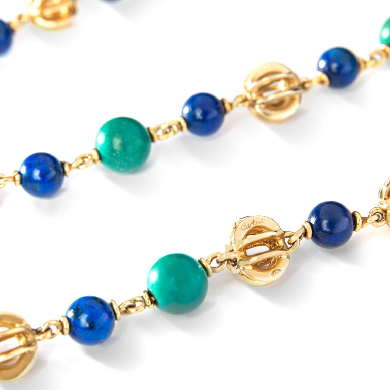 Cartier Turquoise Lapis Lazuli Gold Sautoir Necklace, 1970s In Good Condition For Sale In Geneva, CH