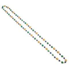 Cartier Turquoise Lapis Lazuli Gold Sautoir Necklace, 1970s