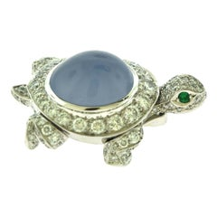Cartier Turtle Chalcedony, Diamond, and Emerald White Gold Pin Brooch, Estate
