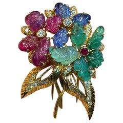 Cartier Tutti Frutti Flower Brooch