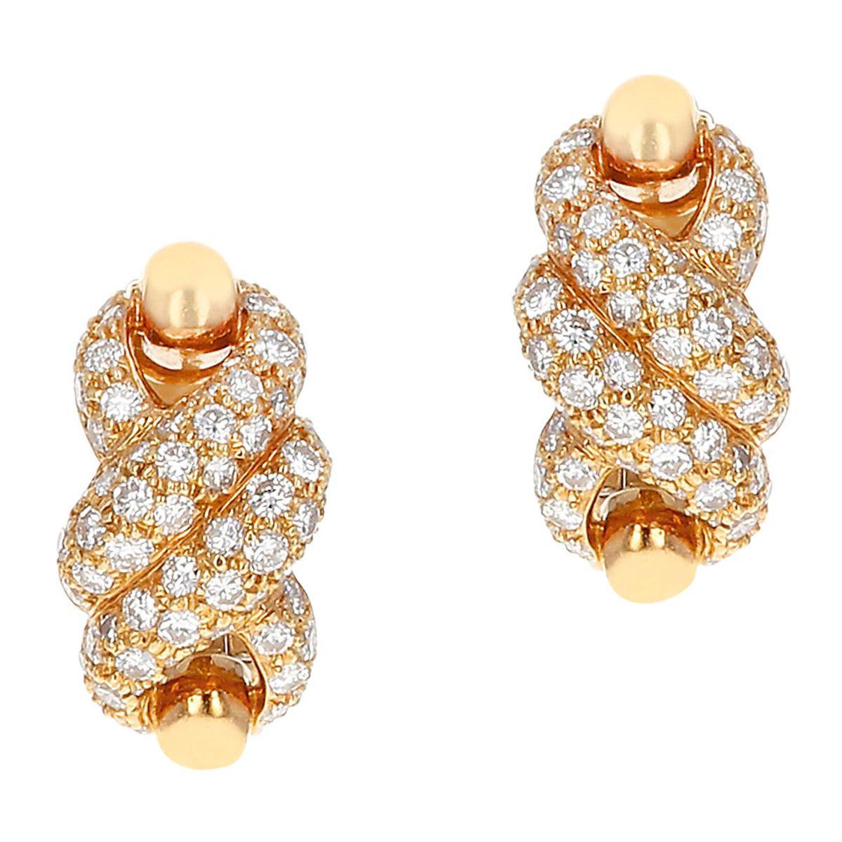 Cartier Twisted Rope Diamond Swirl Earrings, 18 Karat Yellow Gold