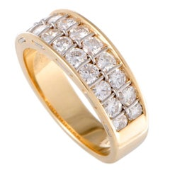Cartier Two-Row Diamond Gold Band Ring