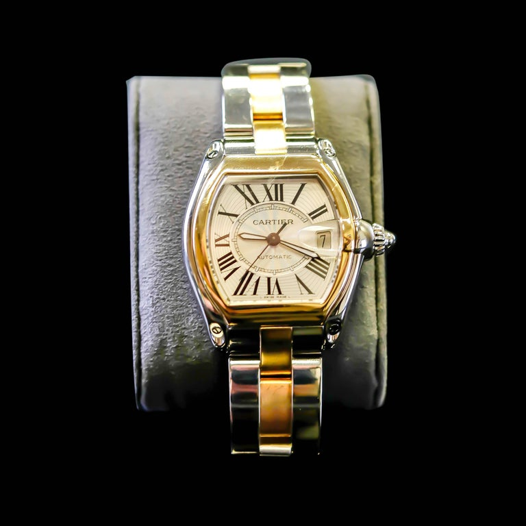 Cartier Two-Tone 18 Karat Gold and Stainless Roadster Large Size Mens Watch 2510 For Sale 6