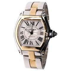 Cartier Two-Tone 18 Karat Gold and Stainless Roadster Large Size Mens Watch 2510