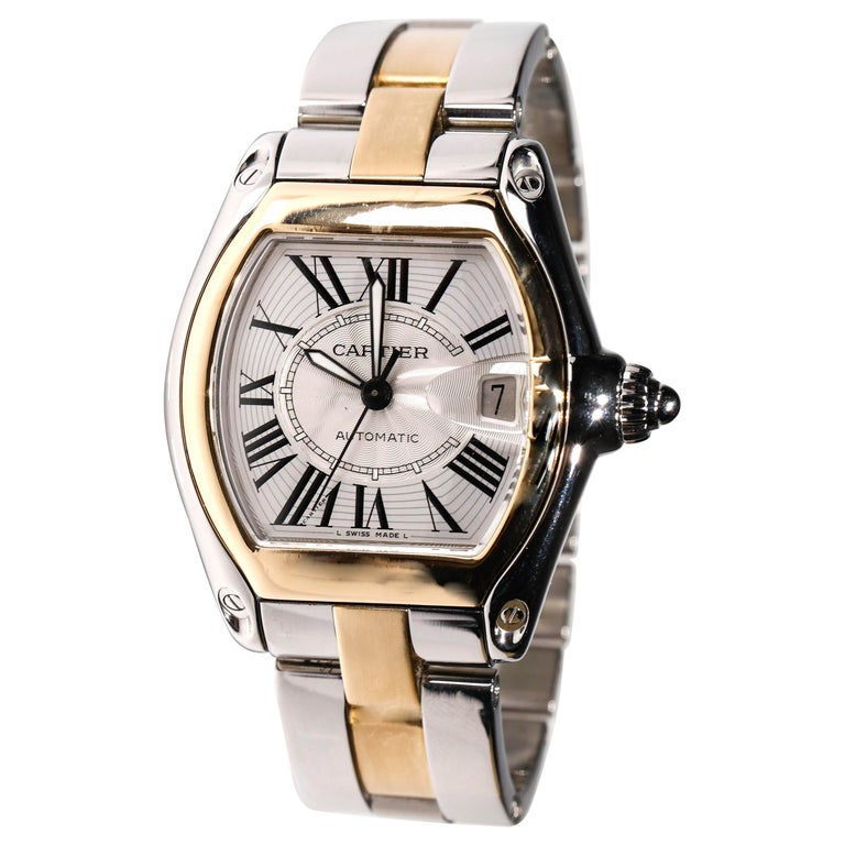 Cartier Two-Tone 18 Karat Gold and Stainless Roadster Large Size Mens Watch 2510 For Sale