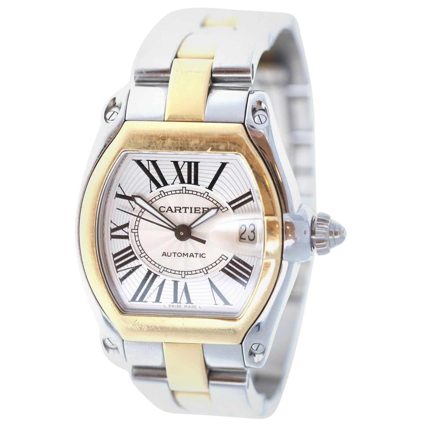 Cartier Two-Tone 18 Karat Gold and Stainless Roadster Large Size Watch 2510