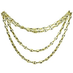 Cartier Two-Tone Gold Mariner Link Long Chain Unisex Necklace