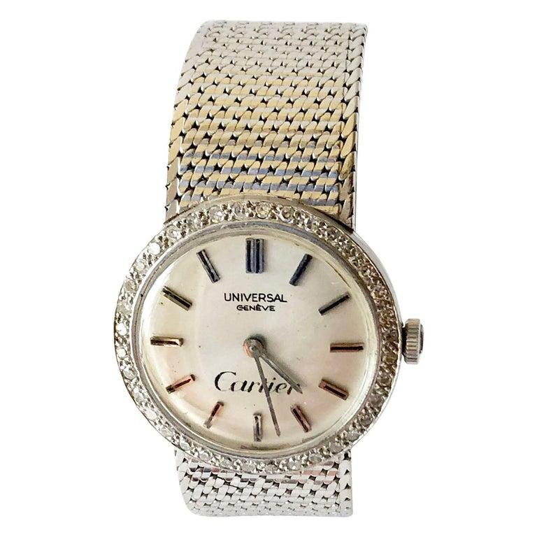 Cartier Universal Genéve 18 Karat White Gold Diamond Ladies Wristwatch For Sale