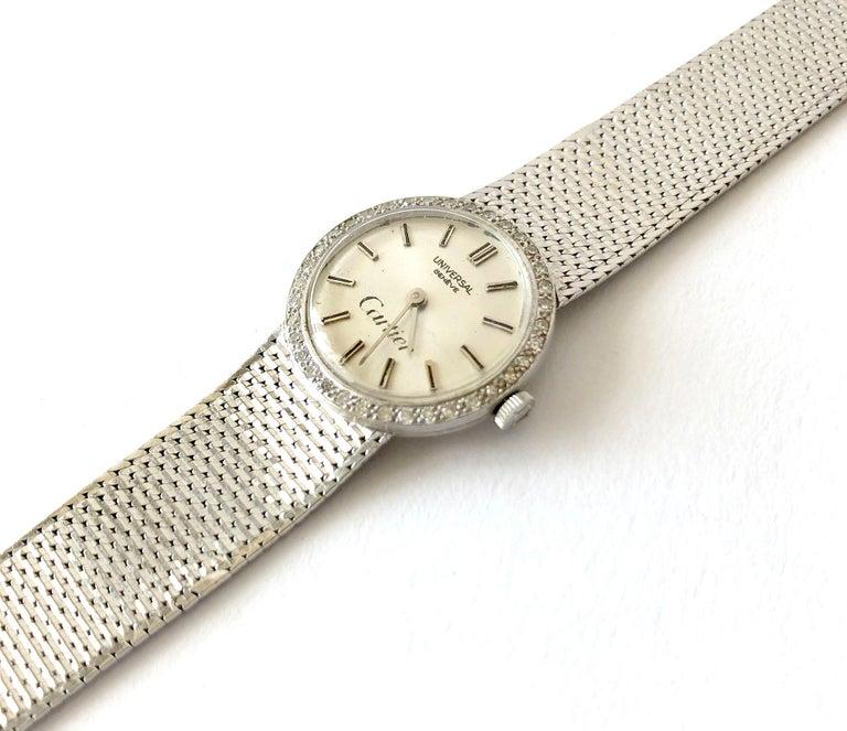 Modernist Cartier Universal Genéve 18 Karat White Gold Diamond Ladies Wristwatch For Sale