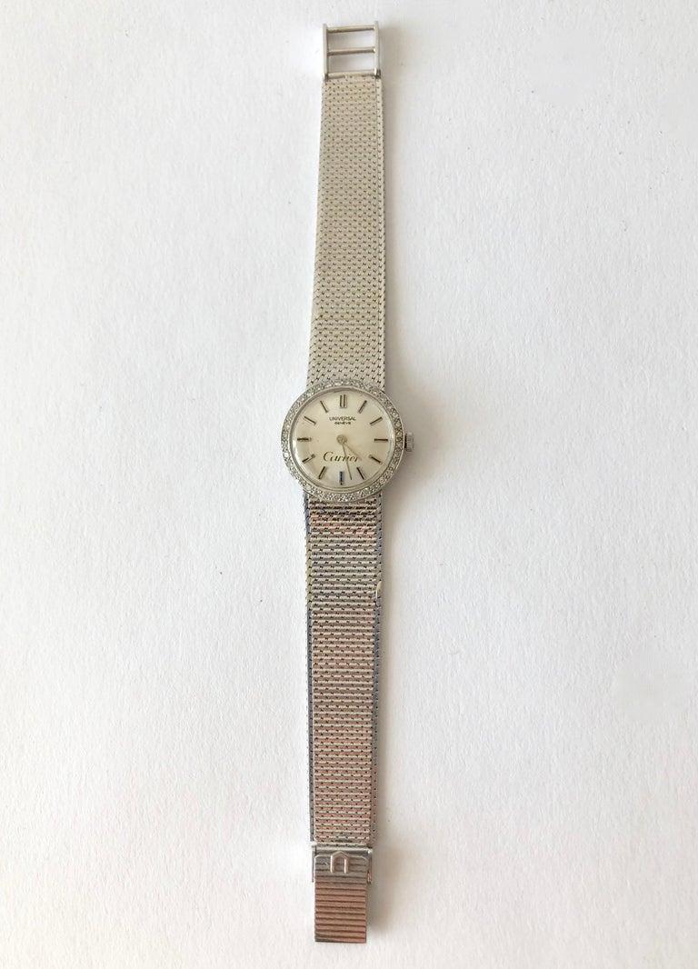 Cartier Universal Genéve 18 Karat White Gold Diamond Ladies Wristwatch In Good Condition For Sale In Los Angeles, CA
