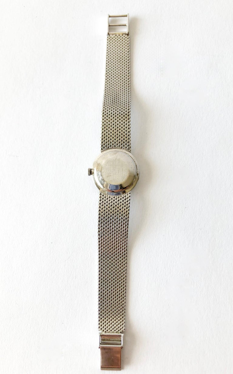 Cartier Universal Genéve 18 Karat White Gold Diamond Ladies Wristwatch For Sale 1