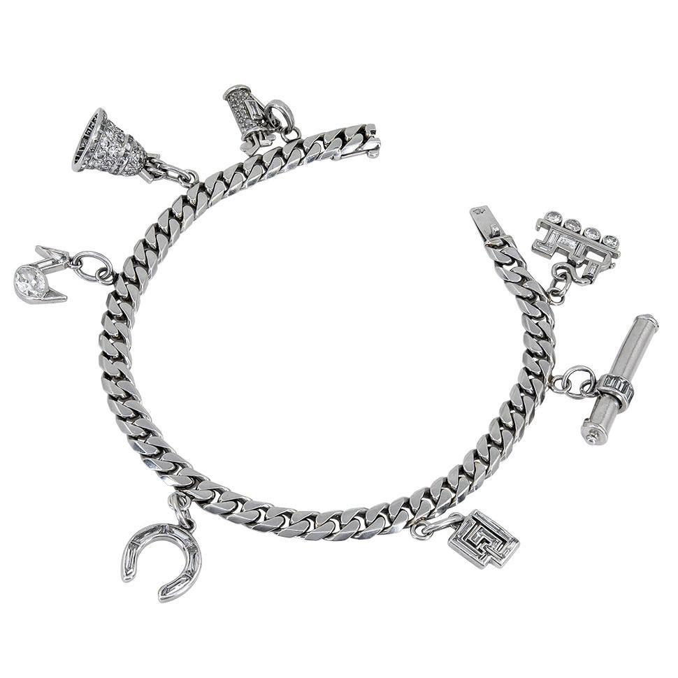 Cartier and Van Cleef & Arpels Diamond Charm Bracelet