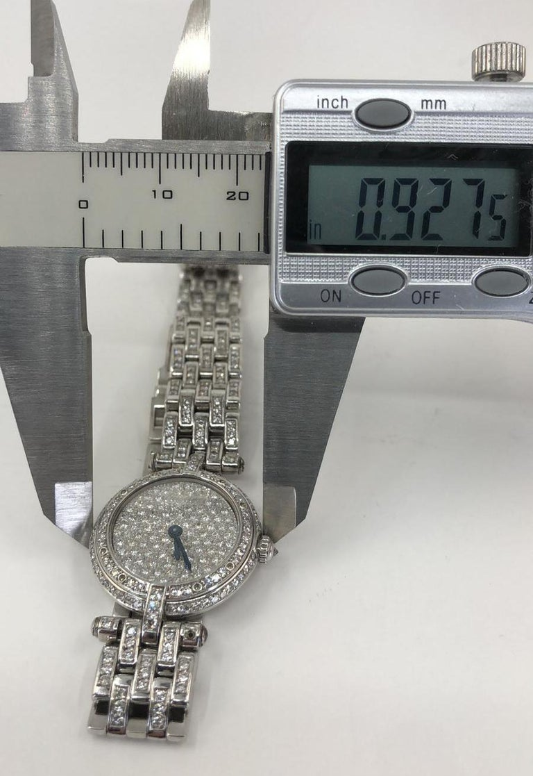 Round Cut Cartier Vendome Diamond Watch For Sale