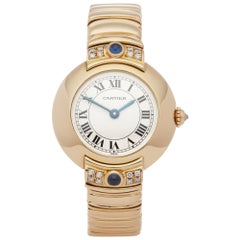 Cartier Vendome 878999 Ladies Yellow Gold Paris Mecanique Diamond Watch