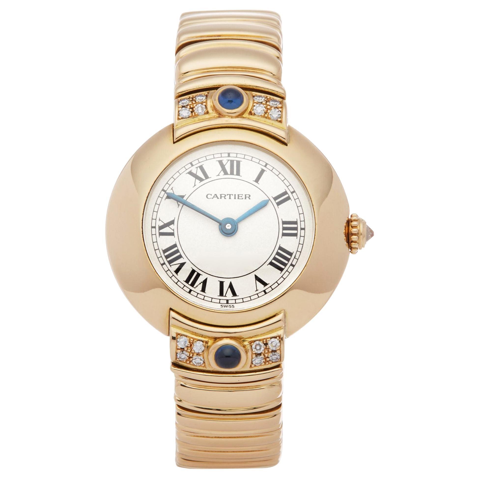 Cartier Vendome 878999 Ladies Yellow Gold Paris Mecanique Diamond Watch