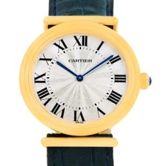 Cartier Vendome BiPlan 18 Karat Yellow Gold Blue Strap Watch W1514457