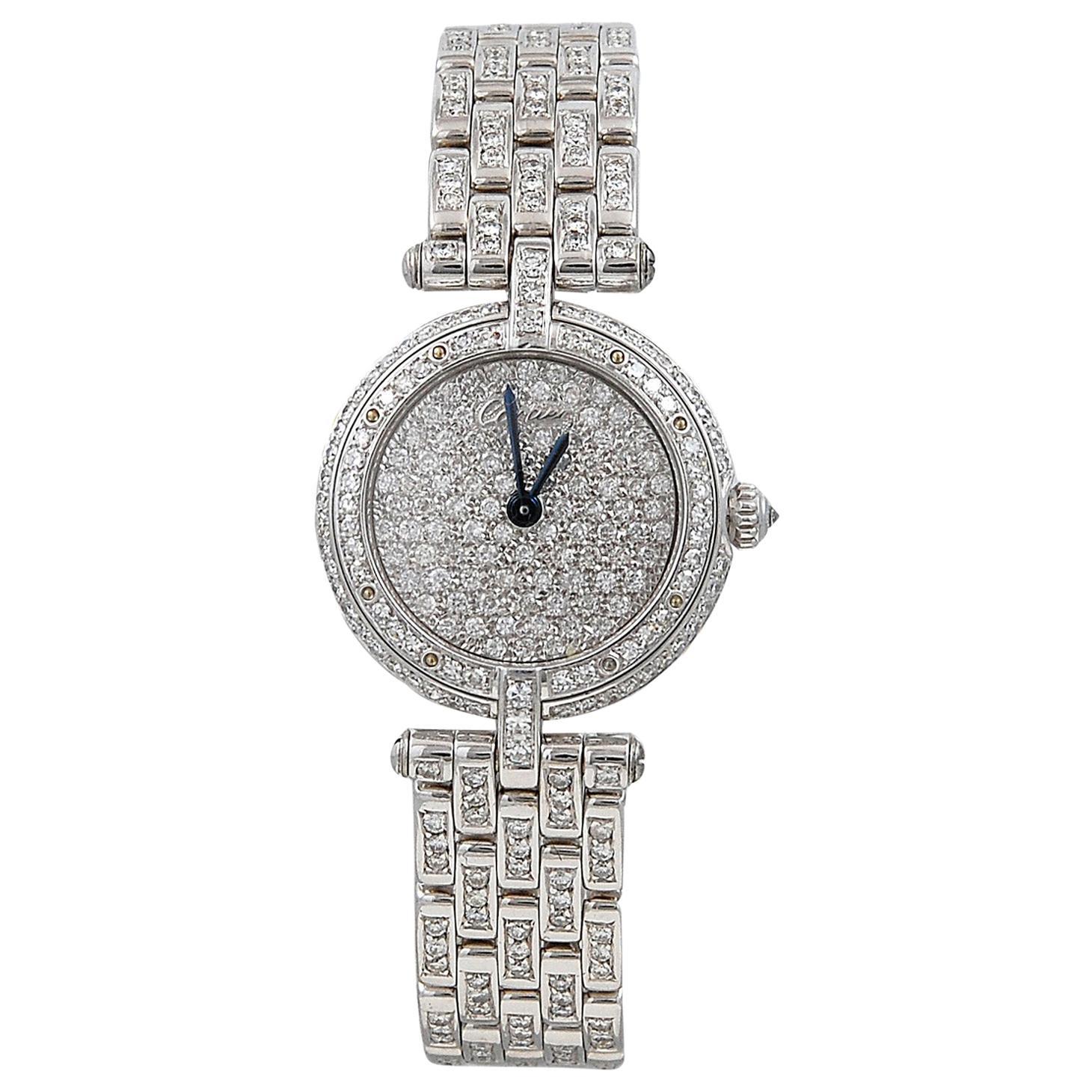 Cartier Ladies Diamond White Gold Vendome Wristwatch