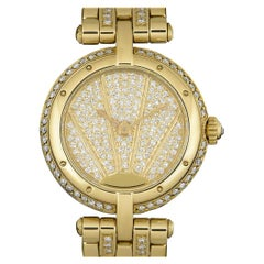 Cartier Vendome Ladies Yellow Gold Pave Sun Diamond Dial Diamond Set Watch