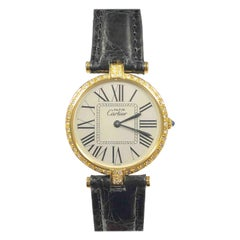 Cartier Vendome Vermeil and Diamond Large Quartz Wristwatch