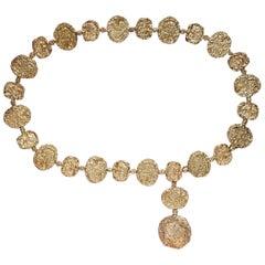 Cartier Vermeil Belt Necklace, Gold on Sterling Silver Jackie O, 1970s Brutalist