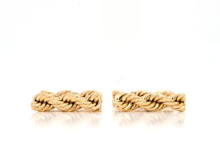 Cartier Vintage 14 Karat Twisted Rope Cufflinks In Good Condition For Sale In Westport, CT