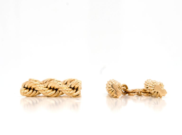 Men's Cartier Vintage 14 Karat Twisted Rope Cufflinks For Sale