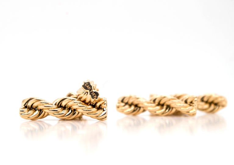 Cartier Vintage 14 Karat Twisted Rope Cufflinks For Sale 1