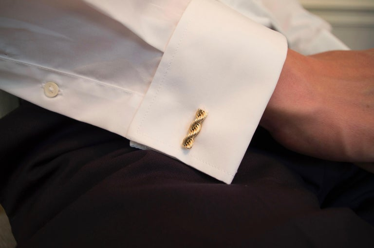 Cartier Vintage 14 Karat Twisted Rope Cufflinks For Sale 2