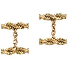 Cartier Vintage 14 Karat Twisted Rope Cufflinks