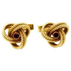 Cartier Vintage 14 Karat Yellow Gold Ruby Knot Cufflinks