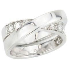 Cartier Vintage 18 Karat Gold Criss Cross Ring with Diamonds