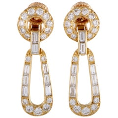 Cartier Vintage 18 Karat Gold Round and Baguette Diamonds Loop Clip-On Earrings