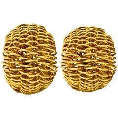 Cartier Vintage 18 Karat Gold Wire Half Hoop Ear-Clip Earrings, circa 1960