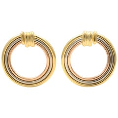 Cartier Vintage 18 Karat Tricolor Gold Large Circle Earrings