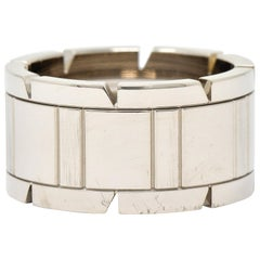 Cartier Vintage 18 Karat White Gold Unisex Tank Francaise Band Ring