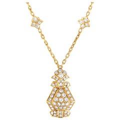 Cartier Vintage 18 Karat Yellow Gold Diamond Pave Pendant Necklace
