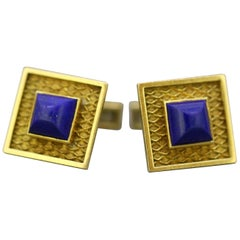 Cartier, Vintage 18 Karat Yellow Gold Men's Cufflinks with Natural Lapis Lazuli