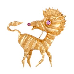 Cartier Vintage 18 Karat Yellow Gold Ruby Zebra Brooch