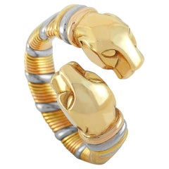 Cartier Vintage 18 Karat Yellow, White and Rose Gold Double Panther Head Ring
