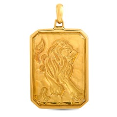 Cartier Vintage 18K Yellow Gold Leo Zodiac Sign Pendant