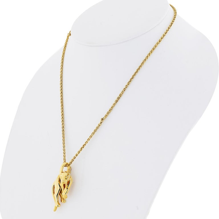 Modern Cartier Vintage 18k Yellow Gold Panthere Pendant Necklace For Sale