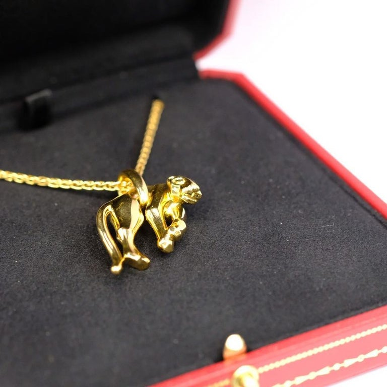 Cartier Vintage 18k Yellow Gold Panthere Pendant Necklace For Sale 1