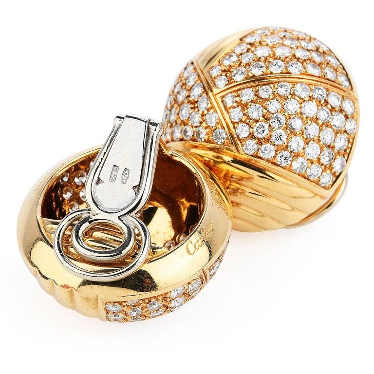 Modern Cartier Vintage 6.10 Carat Diamond 18k Gold Dome Clip On Earrings