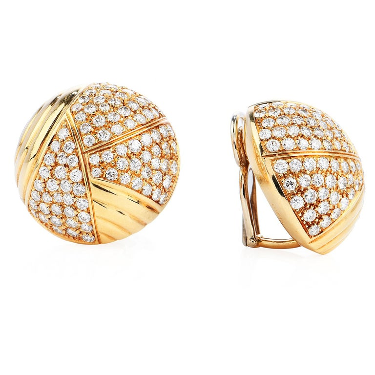 Round Cut Cartier Vintage 6.10 Carat Diamond 18k Gold Dome Clip On Earrings